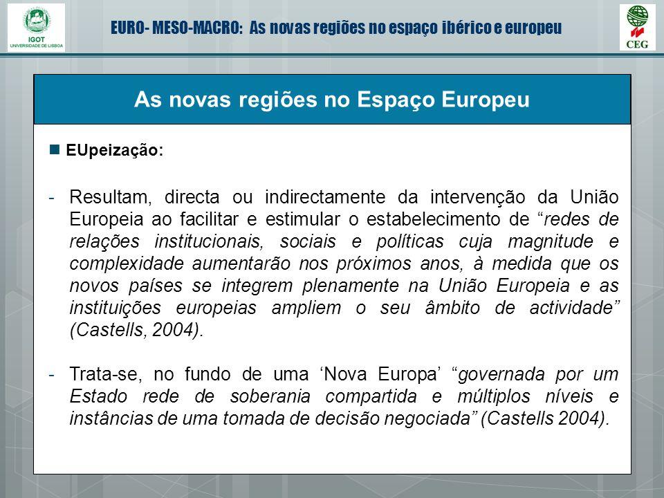 EURO- MESO-MACRO: As novas regiões no espaço ibérico e europeu As novas regiões no Espaço Europeu -Resultam, directa ou indirectamente da intervenção