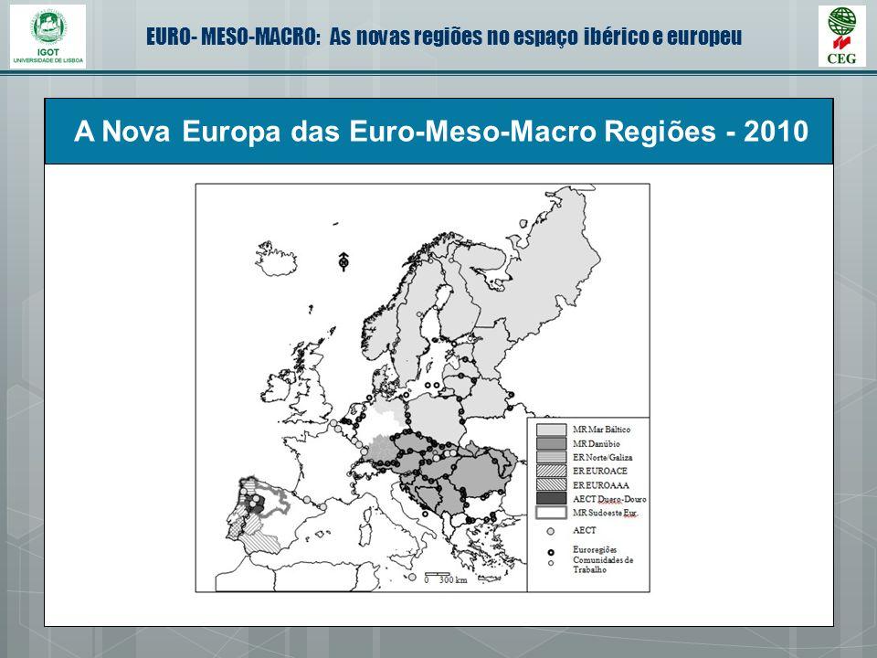 EURO- MESO-MACRO: As novas regiões no espaço ibérico e europeu A Nova Europa das Euro-Meso-Macro Regiões - 2010