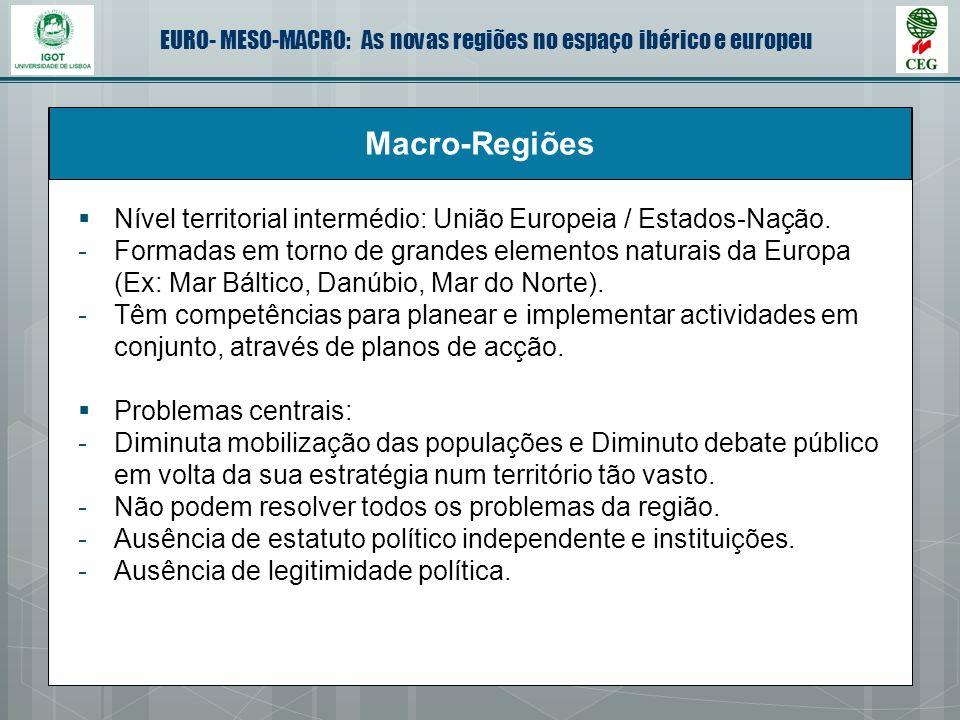 EURO- MESO-MACRO: As novas regiões no espaço ibérico e europeu Macro-Regiões Nível territorial intermédio: União Europeia / Estados-Nação. -Formadas e
