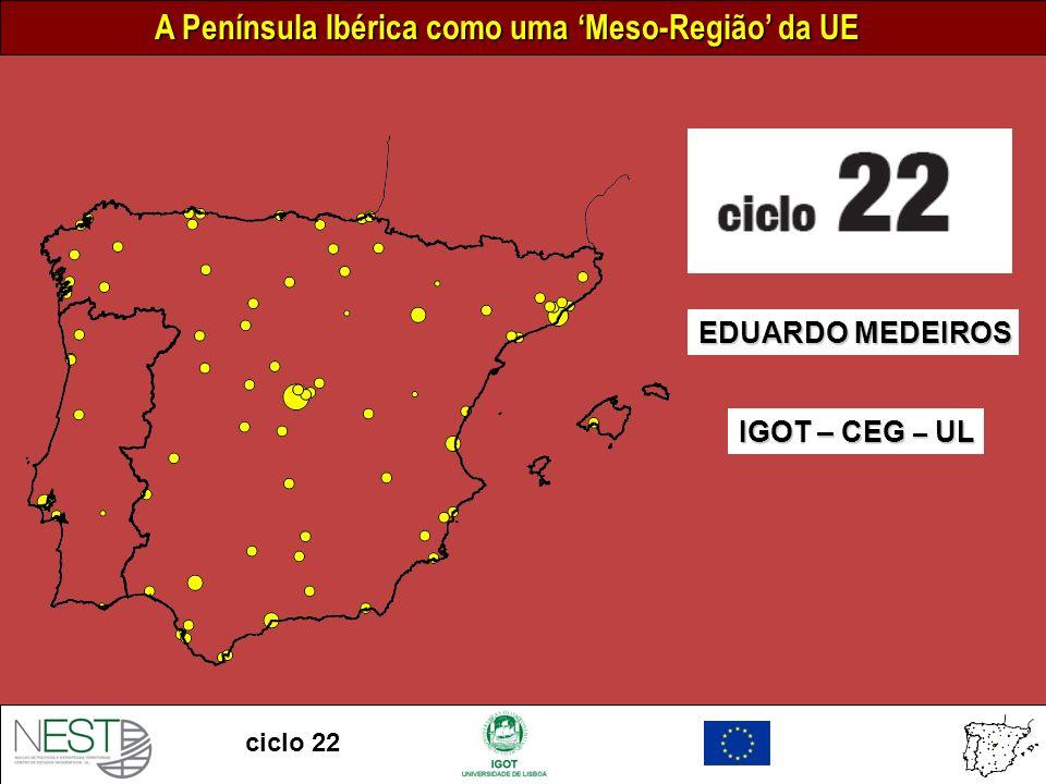 A Península Ibérica como uma Meso-Região da UE ciclo 22 INTERREG-B – Cooperação Transnacional Áreas de cooperação: Mar Báltico Noroeste da Europa Mediterrâneo Ocidental Arquimedes Mar do Norte Cadses Sudoeste Europeu Periferia Norte Espaço Atlântico Espaço Alpino 0 300 km Escala INTERREG III B