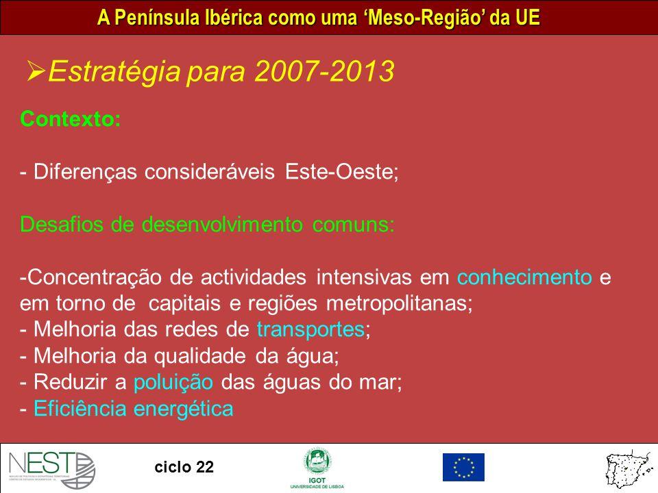 A Península Ibérica como uma Meso-Região da UE ciclo 22 Estratégia para 2007-2013 Contexto: - Diferenças consideráveis Este-Oeste; Desafios de desenvolvimento comuns: -Concentração de actividades intensivas em conhecimento e em torno de capitais e regiões metropolitanas; - Melhoria das redes de transportes; - Melhoria da qualidade da água; - Reduzir a poluição das águas do mar; - Eficiência energética