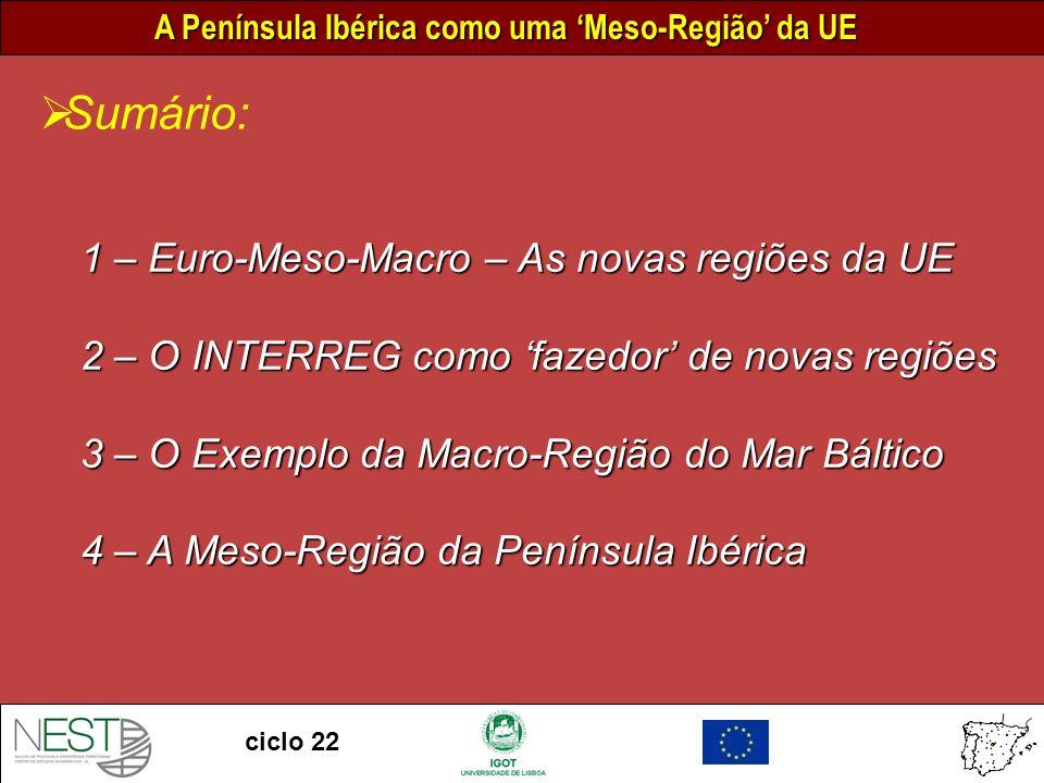 A Península Ibérica como uma Meso-Região da UE ciclo 22 0 300 km Escala Zona Sul Zona Oeste Zona Este Zona Norte INTERREG C INTERREG-C – Cooperação Inter-Regional 0 300 km Escala
