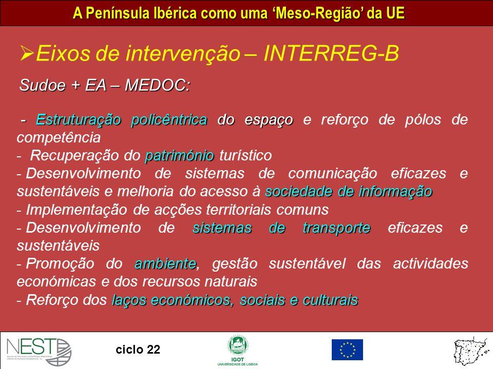 A Península Ibérica como uma Meso-Região da UE ciclo 22 Eixos de intervenção – INTERREG-B Sudoe + EA – MEDOC: - Estruturação policêntrica do espaço - Estruturação policêntrica do espaço e reforço de pólos de competência património - Recuperação do património turístico sociedade de informação - Desenvolvimento de sistemas de comunicação eficazes e sustentáveis e melhoria do acesso à sociedade de informação - Implementação de acções territoriais comuns sistemas de transporte - Desenvolvimento de sistemas de transporte eficazes e sustentáveis ambiente - Promoção do ambiente, gestão sustentável das actividades económicas e dos recursos naturais laços económicos, sociais e culturais - Reforço dos laços económicos, sociais e culturais