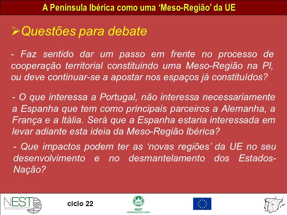 A Península Ibérica como uma Meso-Região da UE ciclo 22 - Faz sentido dar um passo em frente no processo de cooperação territorial constituindo uma Meso-Região na PI, ou deve continuar-se a apostar nos espaços já constituídos.
