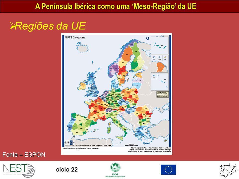 A Península Ibérica como uma Meso-Região da UE ciclo 22 Presença da PI nas regiões INTERREG 0 300 km Escala Áreas de cooperação INTERREG: Mediterrâneo Ocidental - B Sudoeste Europeu - B Espaço Atlântico - B Zona Sul - C Fronteira P-E - A