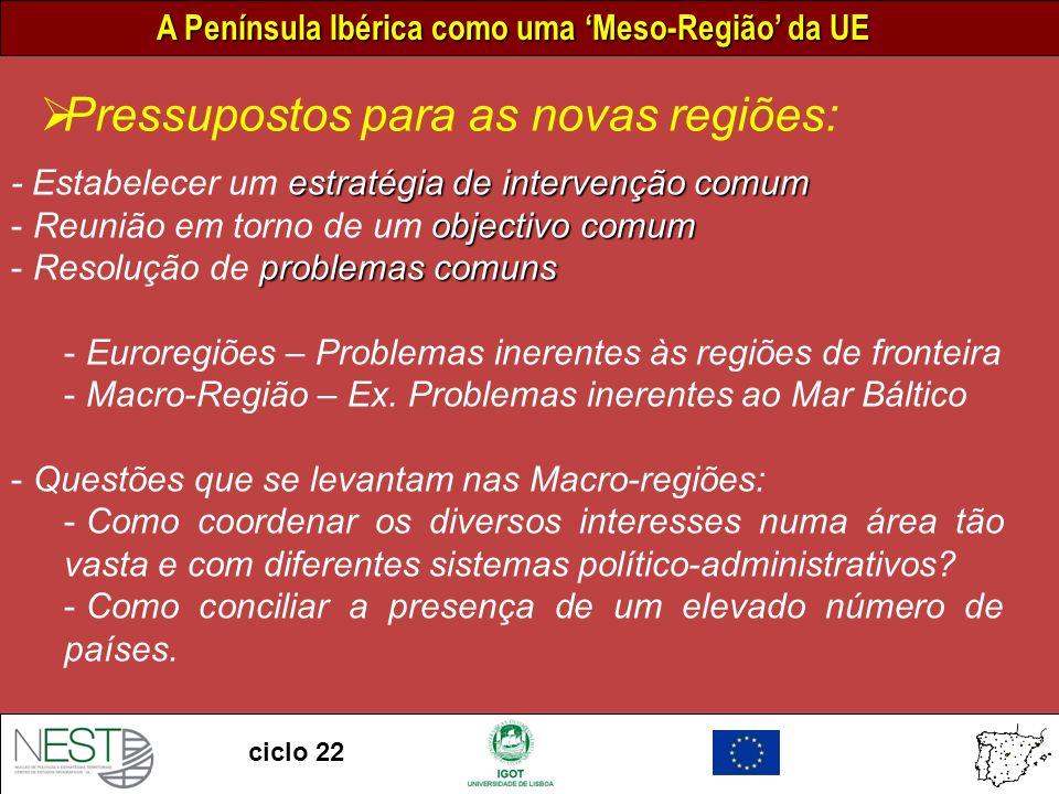 A Península Ibérica como uma Meso-Região da UE ciclo 22 estratégia de intervenção comum - Estabelecer um estratégia de intervenção comum objectivo comum - Reunião em torno de um objectivo comum problemas comuns - Resolução de problemas comuns - Euroregiões – Problemas inerentes às regiões de fronteira - Macro-Região – Ex.