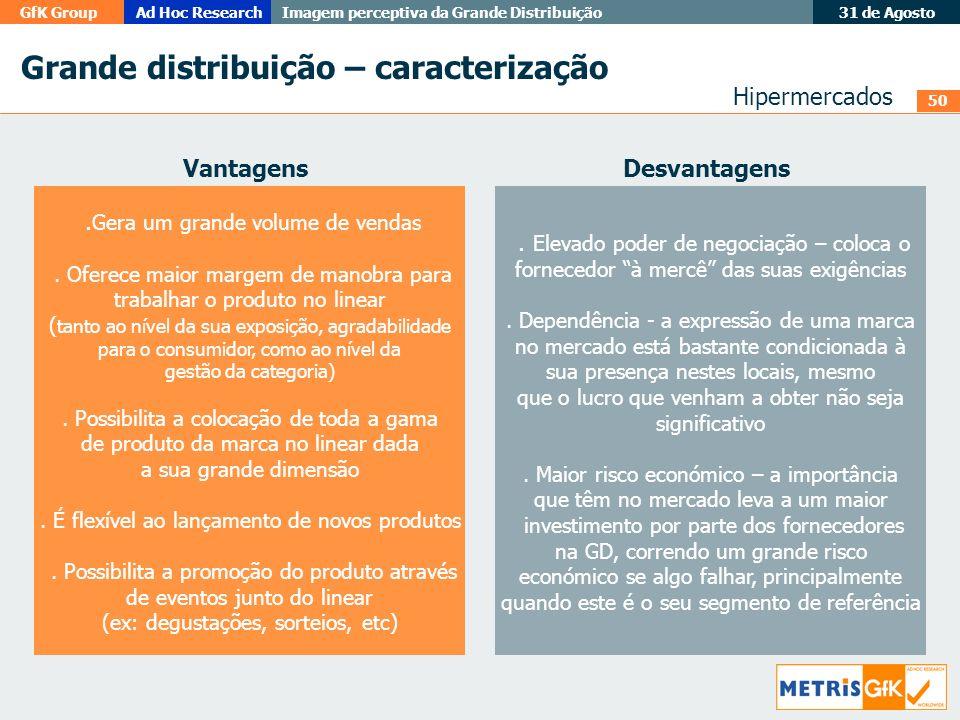 50 GfK GroupAd Hoc Research Imagem perceptiva da Grande Distribuição 31 de Agosto Grande distribuição – caracterização. Gera um grande volume de venda