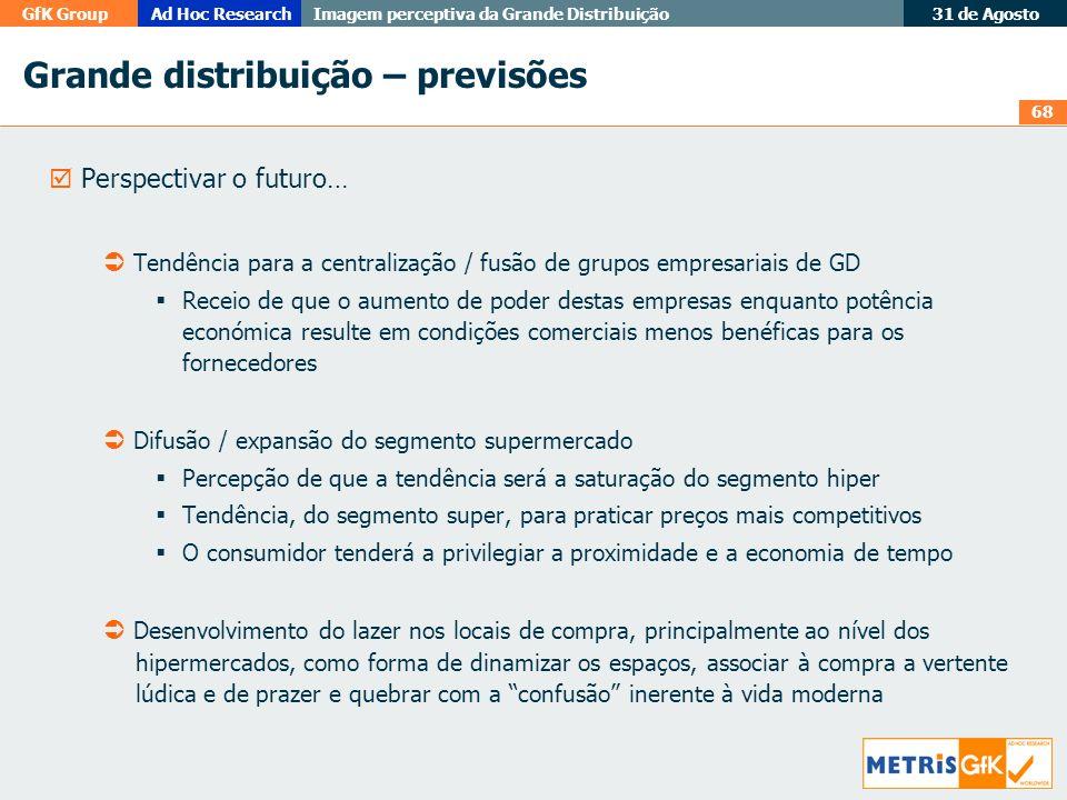 68 GfK GroupAd Hoc Research Imagem perceptiva da Grande Distribuição 31 de Agosto Grande distribuição – previsões Perspectivar o futuro… Tendência par