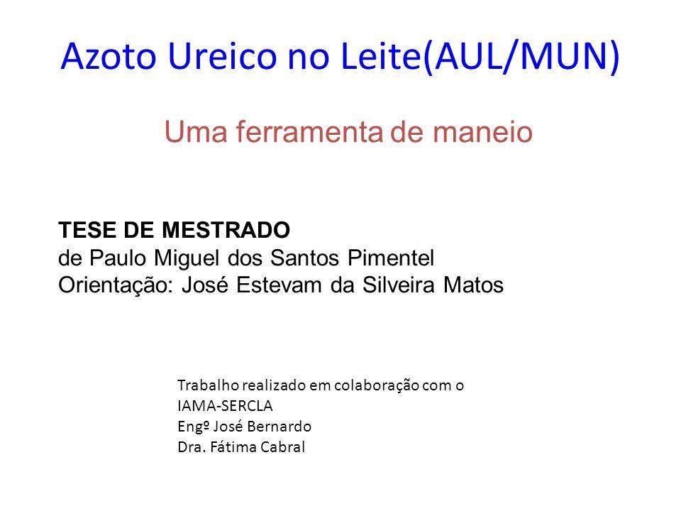 Azoto Ureico no Leite(AUL/MUN) Uma ferramenta de maneio TESE DE MESTRADO de Paulo Miguel dos Santos Pimentel Orientação: José Estevam da Silveira Mato