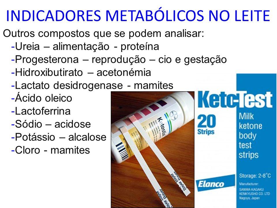 INDICADORES METABÓLICOS NO LEITE Outros compostos que se podem analisar: -Ureia – alimentação - proteína -Progesterona – reprodução – cio e gestação -