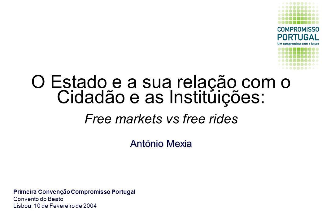 O Estado e a sua relação com o Cidadão e as Instituições: Free markets vs free rides António Mexia Primeira Convenção Compromisso Portugal Convento do Beato Lisboa, 10 de Fevereiro de 2004