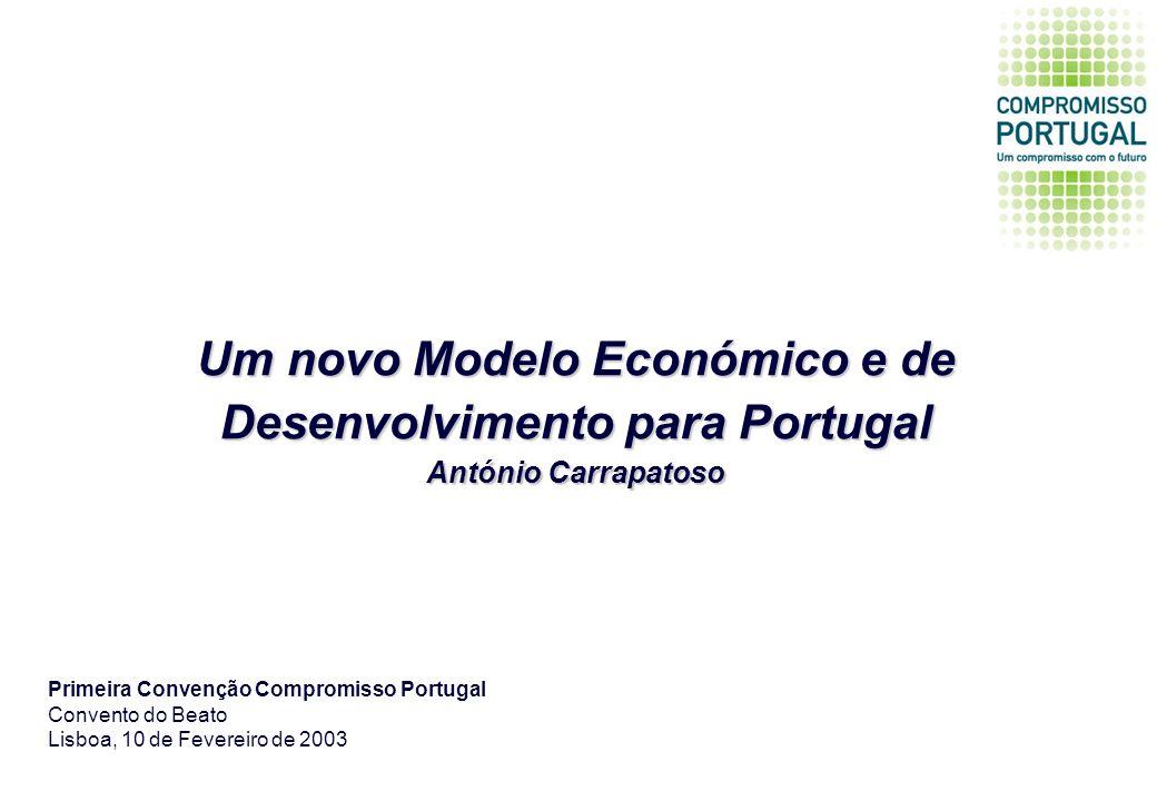 Um novo Modelo Económico e de Desenvolvimento para Portugal António Carrapatoso Primeira Convenção Compromisso Portugal Convento do Beato Lisboa, 10 de Fevereiro de 2003