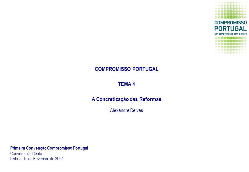 COMPROMISSO PORTUGAL TEMA 4 A Concretização das Reformas Primeira Convenção Compromisso Portugal Convento do Beato Lisboa, 10 de Fevereiro de 2004 Alexandre Relvas