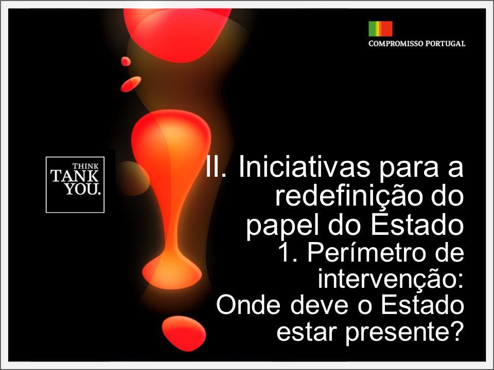 II. Iniciativas para a redefinição do papel do Estado 1. Perímetro de intervenção: Onde deve o Estado estar presente?