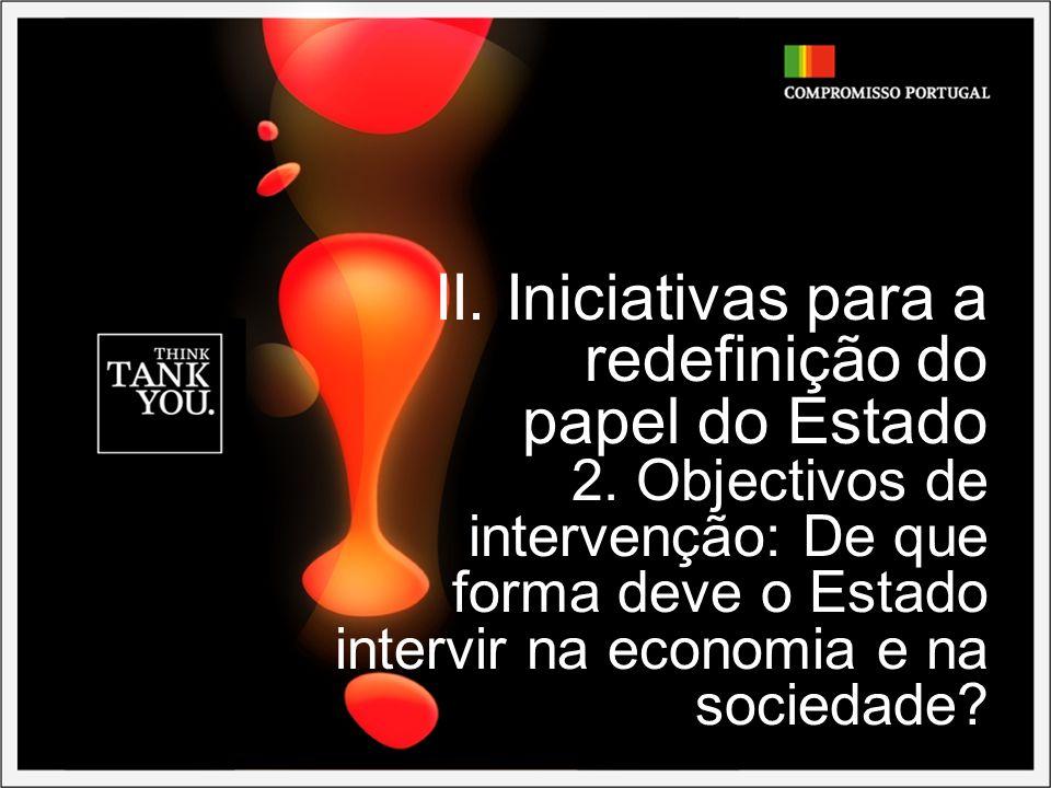 II. Iniciativas para a redefinição do papel do Estado 2. Objectivos de intervenção: De que forma deve o Estado intervir na economia e na sociedade?
