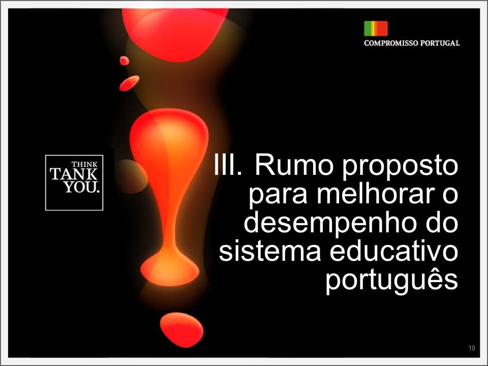 10 III. Rumo proposto para melhorar o desempenho do sistema educativo português