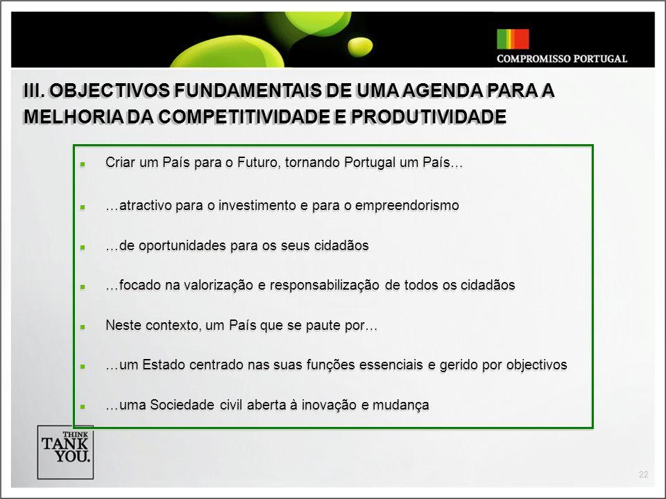 22 Criar um País para o Futuro, tornando Portugal um País… …atractivo para o investimento e para o empreendorismo …de oportunidades para os seus cidadãos …focado na valorização e responsabilização de todos os cidadãos Neste contexto, um País que se paute por… …um Estado centrado nas suas funções essenciais e gerido por objectivos …uma Sociedade civil aberta à inovação e mudança Criar um País para o Futuro, tornando Portugal um País… …atractivo para o investimento e para o empreendorismo …de oportunidades para os seus cidadãos …focado na valorização e responsabilização de todos os cidadãos Neste contexto, um País que se paute por… …um Estado centrado nas suas funções essenciais e gerido por objectivos …uma Sociedade civil aberta à inovação e mudança III.