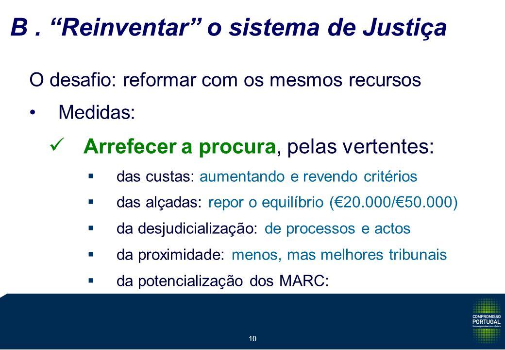 10 B. Reinventar o sistema de Justiça O desafio: reformar com os mesmos recursos Medidas: Arrefecer a procura, pelas vertentes: das custas: aumentando