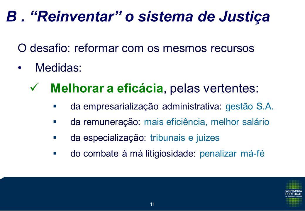 11 B. Reinventar o sistema de Justiça O desafio: reformar com os mesmos recursos Medidas: Melhorar a eficácia, pelas vertentes: da empresarialização a