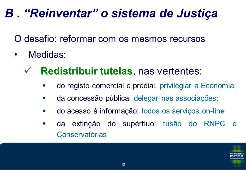 12 B. Reinventar o sistema de Justiça O desafio: reformar com os mesmos recursos Medidas: Redistribuir tutelas, nas vertentes: do registo comercial e