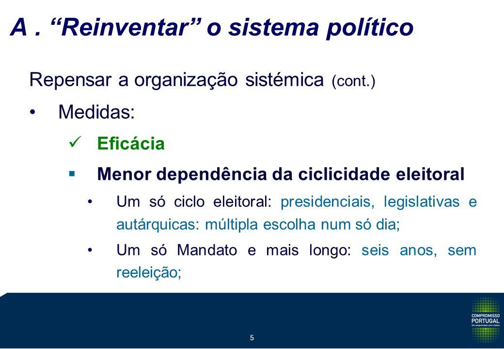 5 A. Reinventar o sistema político Repensar a organização sistémica (cont.) Medidas: Eficácia Menor dependência da ciclicidade eleitoral Um só ciclo e