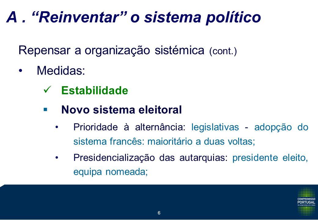 6 A. Reinventar o sistema político Repensar a organização sistémica (cont.) Medidas: Estabilidade Novo sistema eleitoral Prioridade à alternância: leg