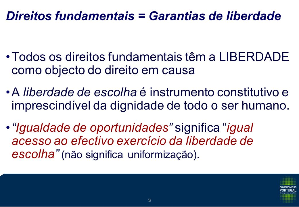 3 Direitos fundamentais = Garantias de liberdade Todos os direitos fundamentais têm a LIBERDADE como objecto do direito em causa A liberdade de escolha é instrumento constitutivo e imprescindível da dignidade de todo o ser humano.