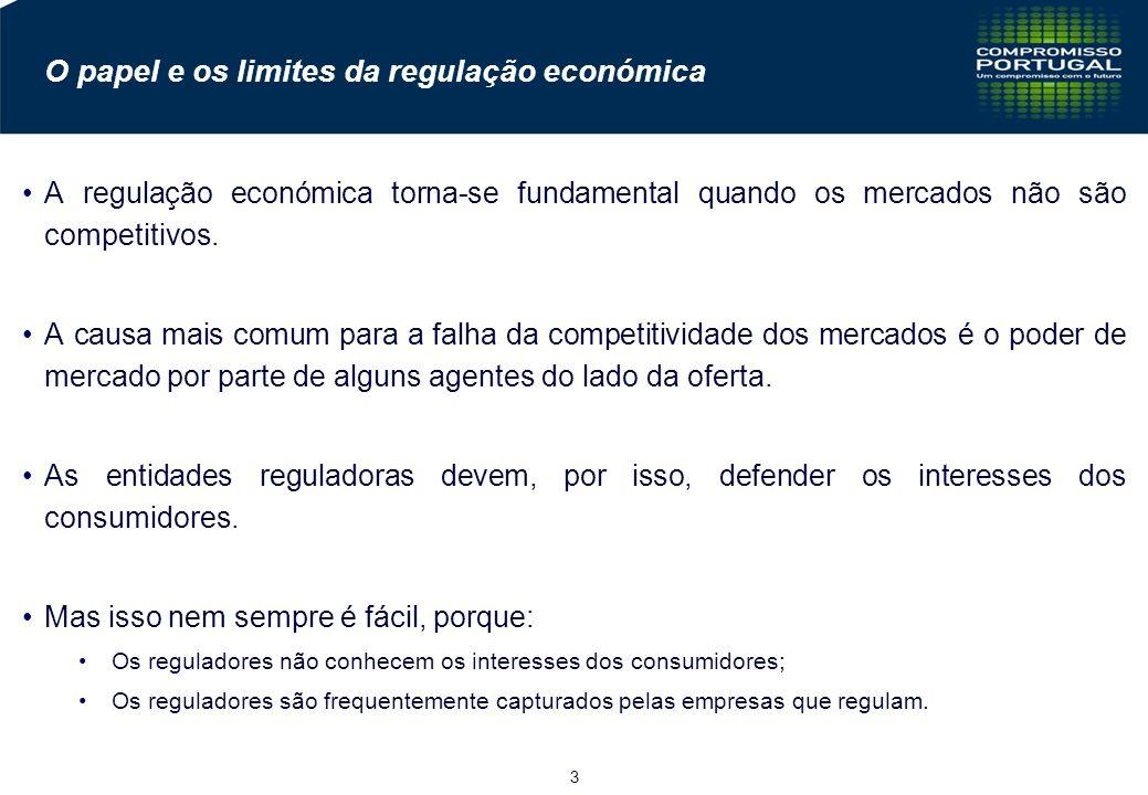 3 O papel e os limites da regulação económica A regulação económica torna-se fundamental quando os mercados não são competitivos.