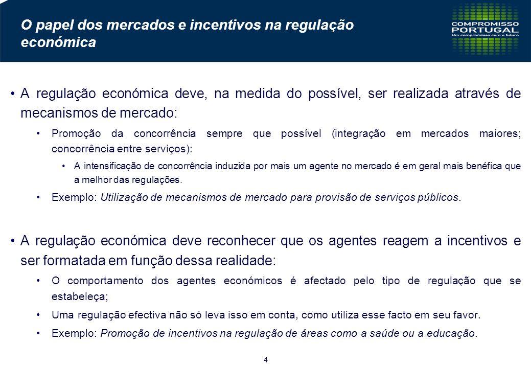 4 O papel dos mercados e incentivos na regulação económica A regulação económica deve, na medida do possível, ser realizada através de mecanismos de mercado: Promoção da concorrência sempre que possível (integração em mercados maiores; concorrência entre serviços): A intensificação de concorrência induzida por mais um agente no mercado é em geral mais benéfica que a melhor das regulações.