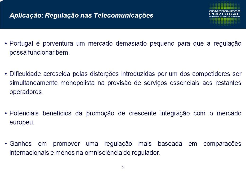 5 Aplicação: Regulação nas Telecomunicações Portugal é porventura um mercado demasiado pequeno para que a regulação possa funcionar bem.