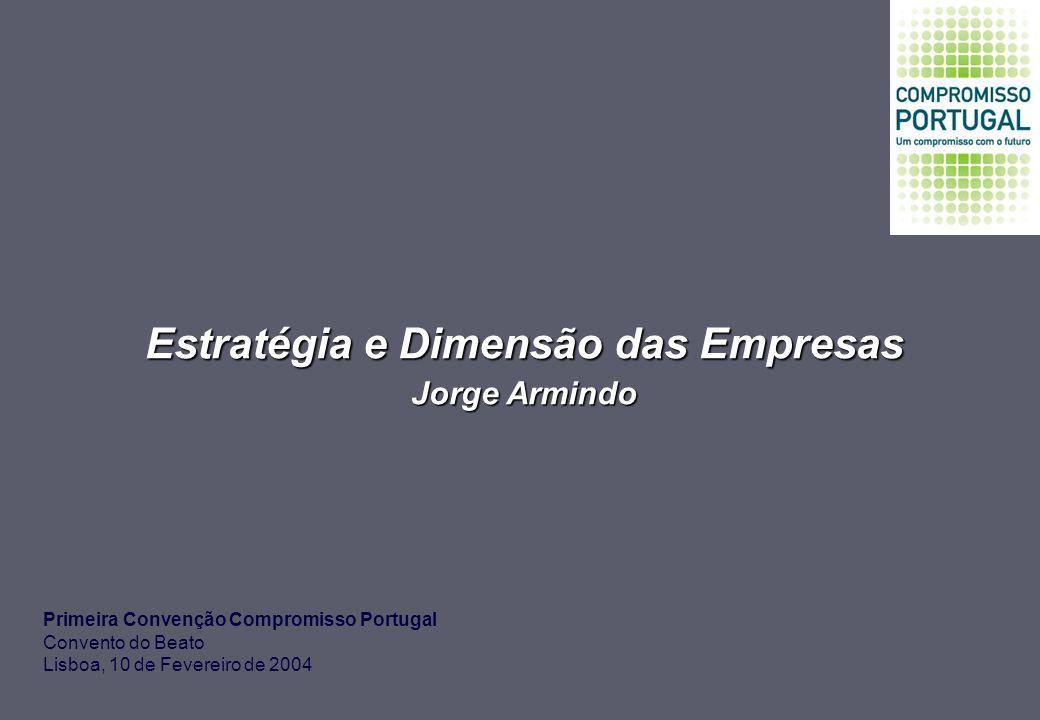 Estratégia e Dimensão das Empresas Jorge Armindo Primeira Convenção Compromisso Portugal Convento do Beato Lisboa, 10 de Fevereiro de 2004