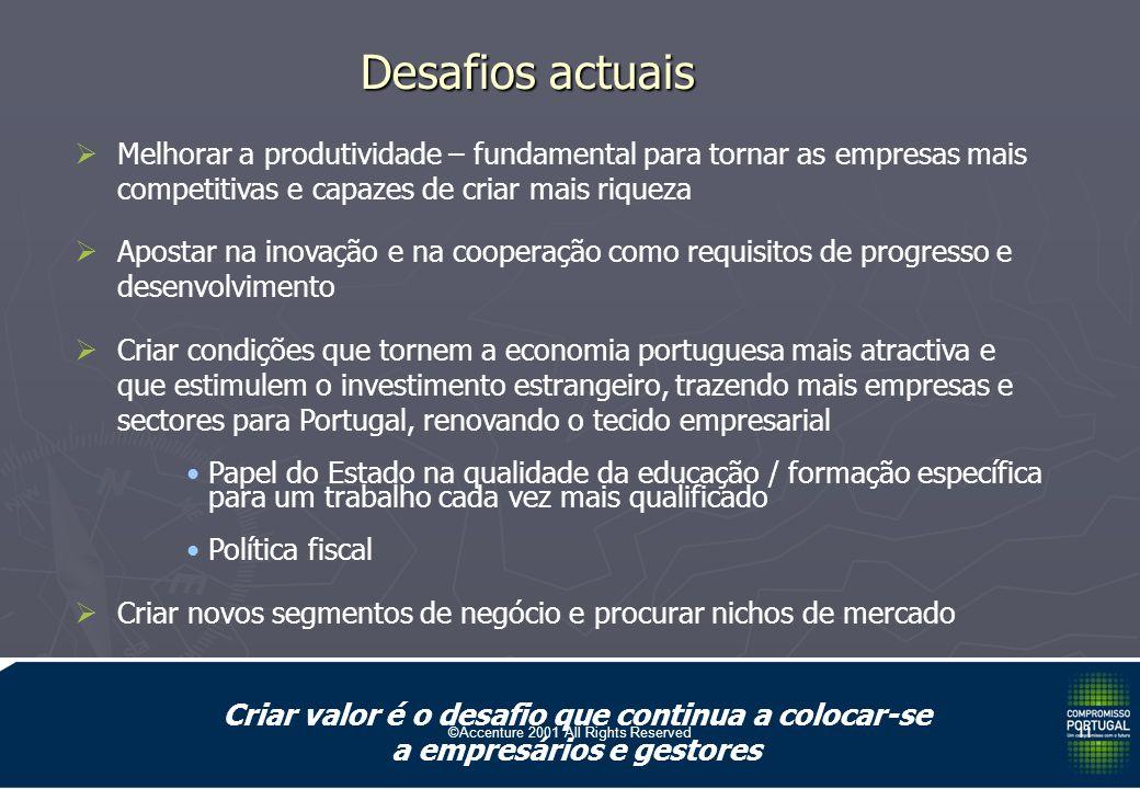 ©Accenture 2001 All Rights Reserved10 O papel do Estado: O papel do Estado: Optimizar a envolvente macro-económica, social e política e minimizar a sua turbulência Optimizar a envolvente macro-económica, social e política e minimizar a sua turbulência Providenciar os bens públicos (isto é os que não estão ao alcance das empresas ou que são apropriáveis por todos uma vez disponíveis), vg: Providenciar os bens públicos (isto é os que não estão ao alcance das empresas ou que são apropriáveis por todos uma vez disponíveis), vg: Informação (gps e metereologia) Informação (gps e metereologia) Infra-estruturas Infra-estruturas Educação e formação Educação e formação Justiça e segurança Justiça e segurança I&DT fundamental I&DT fundamental