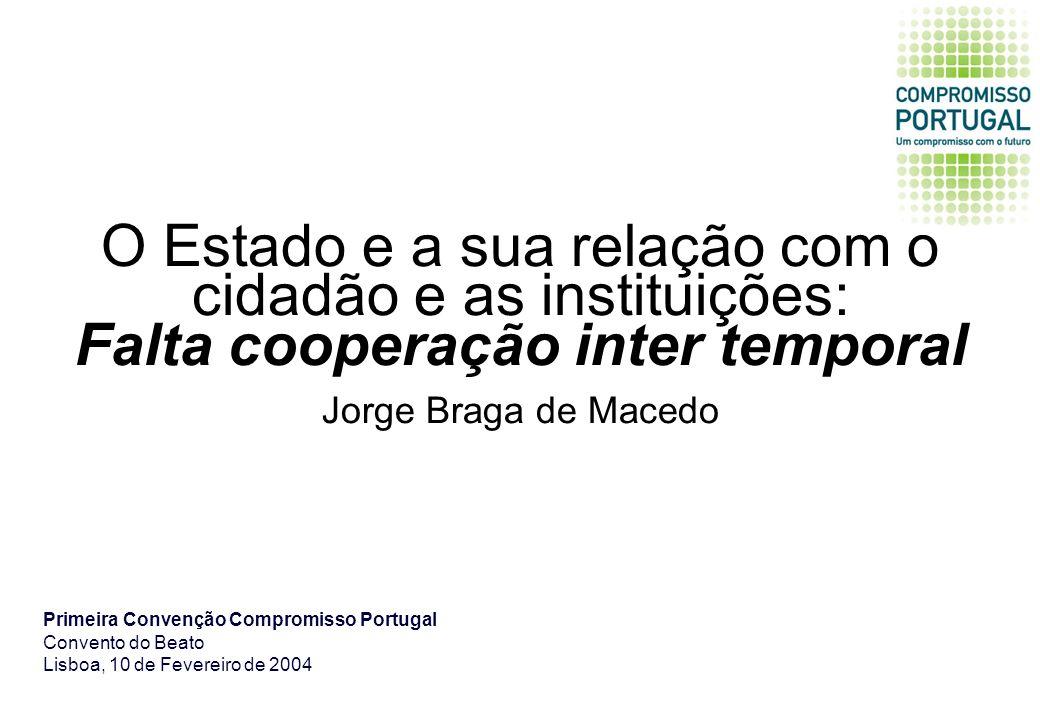 O Estado e a sua relação com o cidadão e as instituições: Falta cooperação inter temporal Jorge Braga de Macedo Primeira Convenção Compromisso Portugal Convento do Beato Lisboa, 10 de Fevereiro de 2004