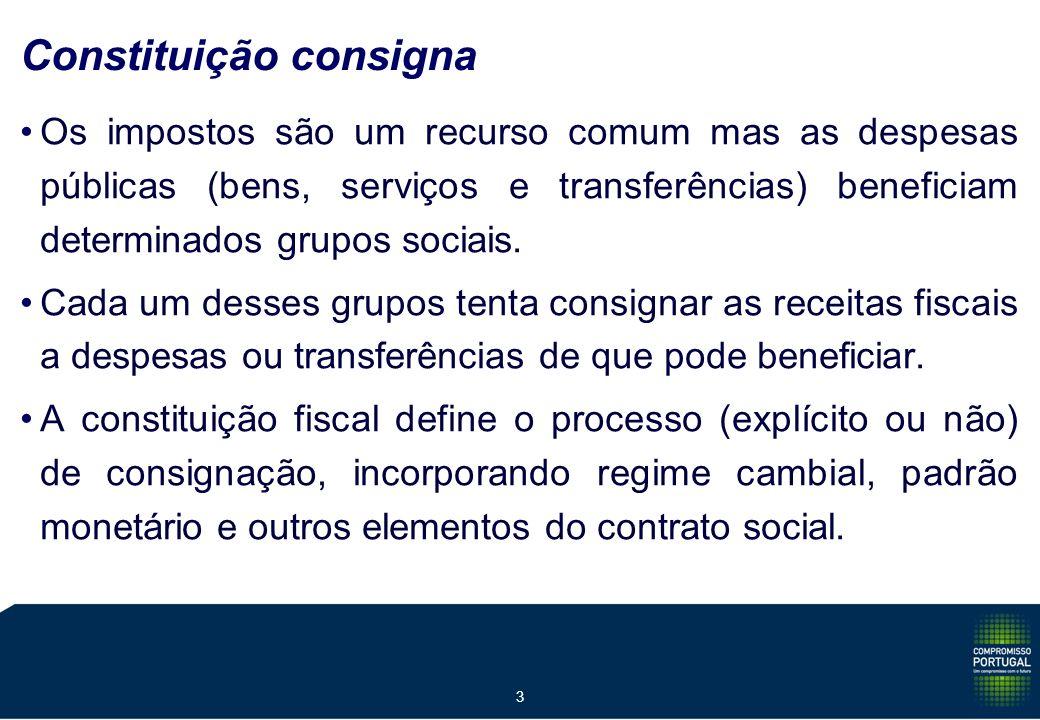 3 Constituição consigna Os impostos são um recurso comum mas as despesas públicas (bens, serviços e transferências) beneficiam determinados grupos sociais.