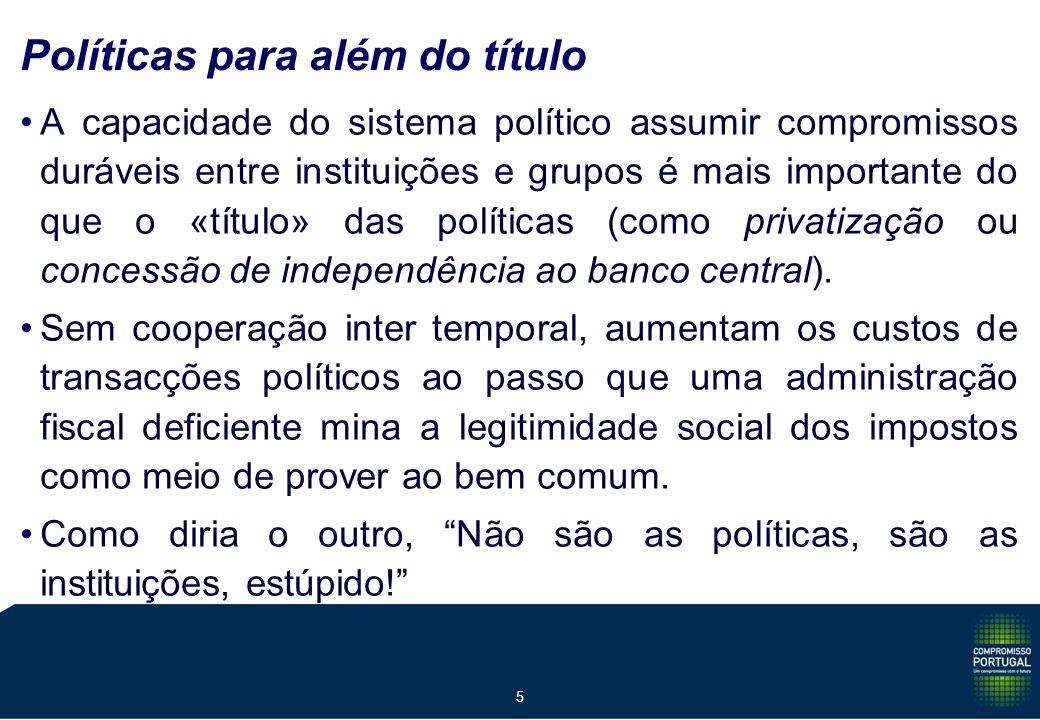 5 Políticas para além do título A capacidade do sistema político assumir compromissos duráveis entre instituições e grupos é mais importante do que o «título» das políticas (como privatização ou concessão de independência ao banco central).
