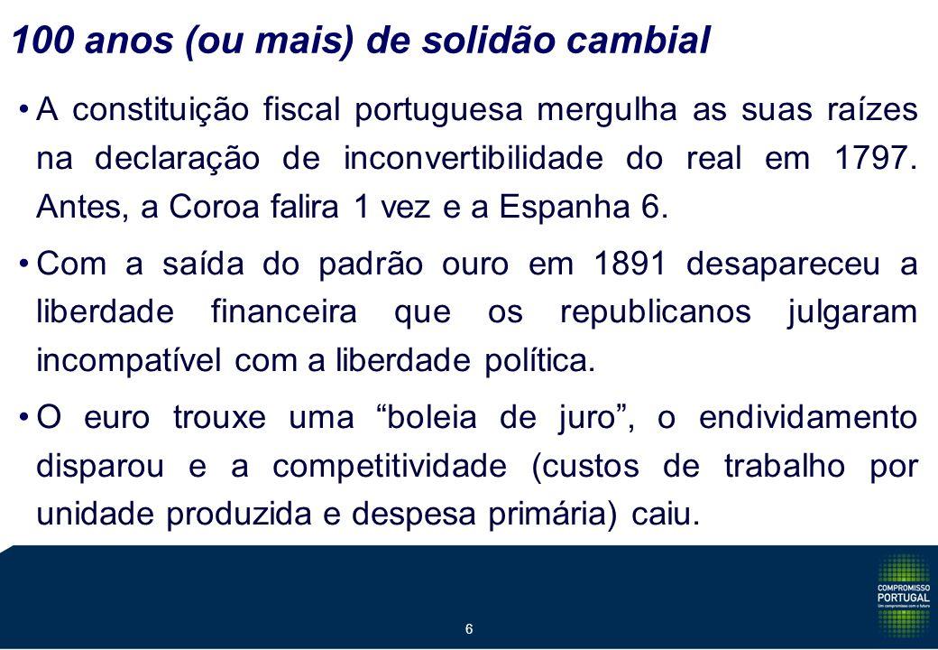 6 100 anos (ou mais) de solidão cambial A constituição fiscal portuguesa mergulha as suas raízes na declaração de inconvertibilidade do real em 1797.