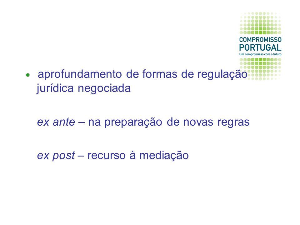 aprofundamento de formas de regulação jurídica negociada ex ante – na preparação de novas regras ex post – recurso à mediação