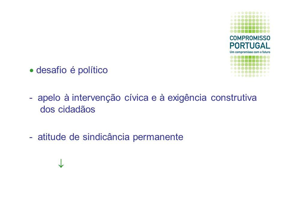desafio é político - apelo à intervenção cívica e à exigência construtiva dos cidadãos - atitude de sindicância permanente