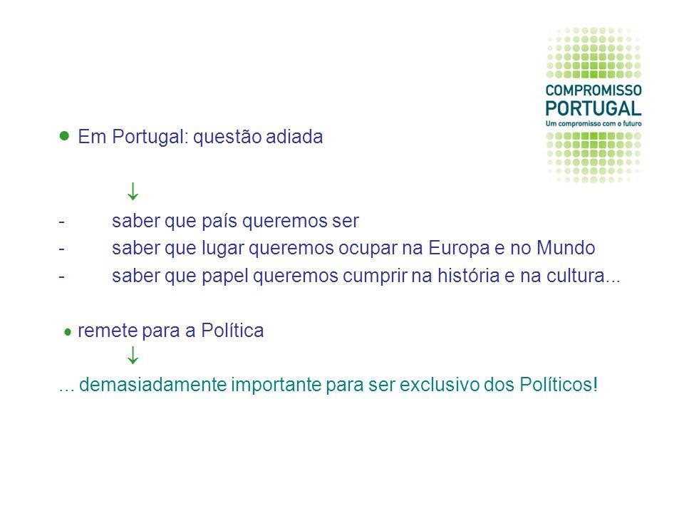 Em Portugal: questão adiada - saber que país queremos ser - saber que lugar queremos ocupar na Europa e no Mundo - saber que papel queremos cumprir na história e na cultura...