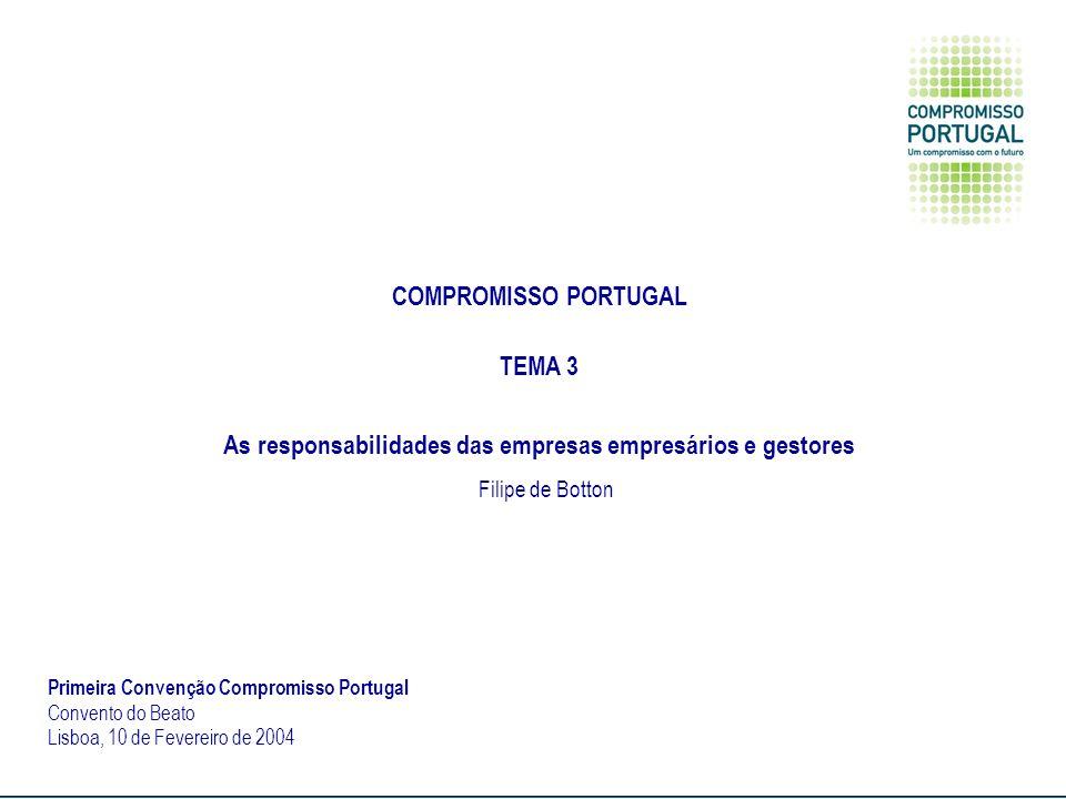 COMPROMISSO PORTUGAL TEMA 3 As responsabilidades das empresas empresários e gestores Filipe de Botton Primeira Convenção Compromisso Portugal Convento