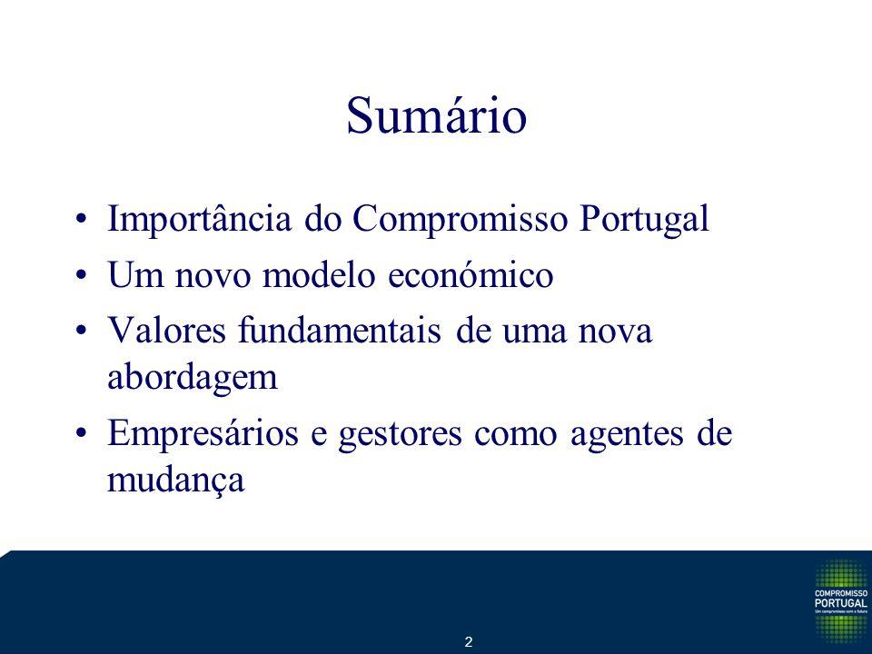 2 Sumário Importância do Compromisso Portugal Um novo modelo económico Valores fundamentais de uma nova abordagem Empresários e gestores como agentes de mudança