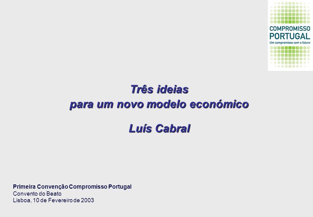 Três ideias para um novo modelo económico Luís Cabral Primeira Convenção Compromisso Portugal Convento do Beato Lisboa, 10 de Fevereiro de 2003