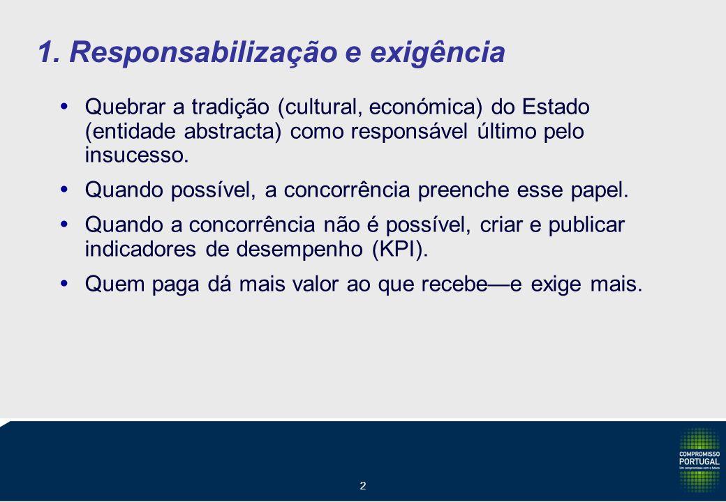 2 1. Responsabilização e exigência Quebrar a tradição (cultural, económica) do Estado (entidade abstracta) como responsável último pelo insucesso. Qua