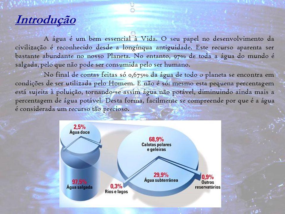 Introdução A água é um bem essencial à Vida. O seu papel no desenvolvimento da civilização é reconhecido desde a longínqua antiguidade. Este recurso a