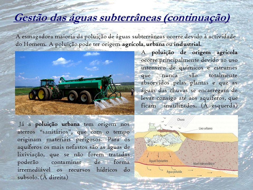 Gestão das águas subterrâneas (continuação) A esmagadora maioria da poluição de águas subterrâneas ocorre devido à actividade do Homem. A poluição pod