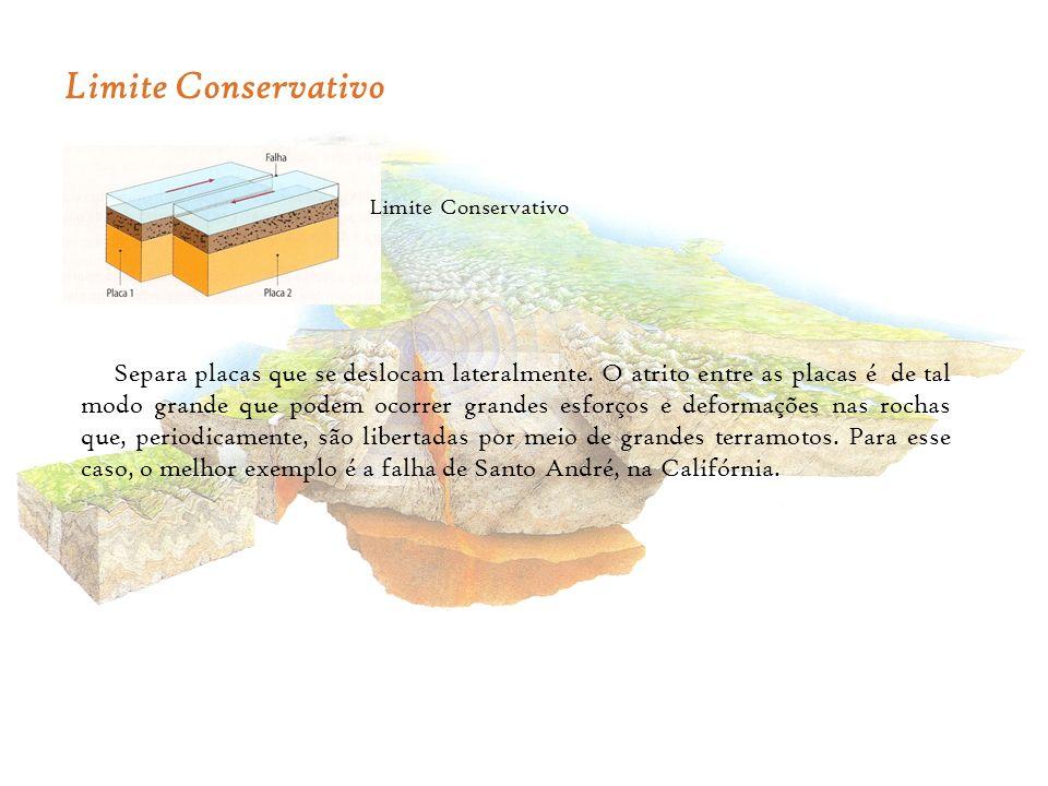 Limite Conservativo Separa placas que se deslocam lateralmente. O atrito entre as placas é de tal modo grande que podem ocorrer grandes esforços e def