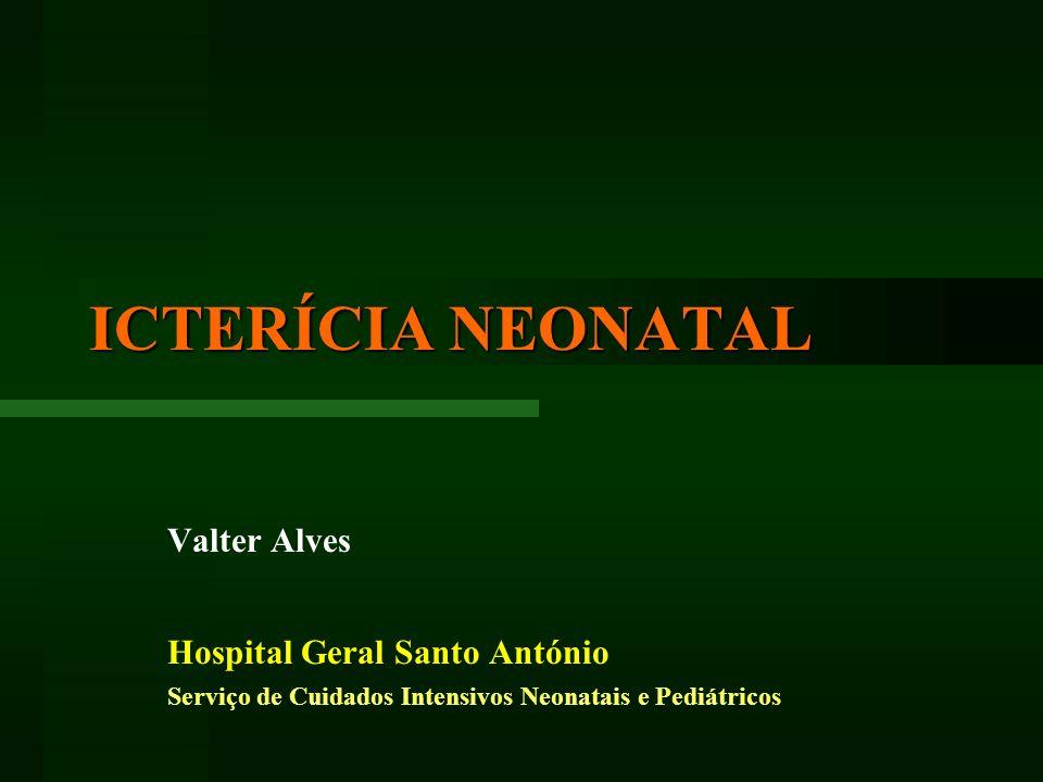 ICTERÍCIA NEONATAL Valter Alves Hospital Geral Santo António Serviço de Cuidados Intensivos Neonatais e Pediátricos