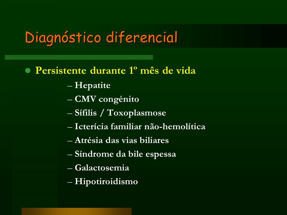 Diagnóstico diferencial Persistente durante 1º mês de vida –Hepatite –CMV congénito –Sífilis / Toxoplasmose –Icterícia familiar não-hemolítica –Atrési