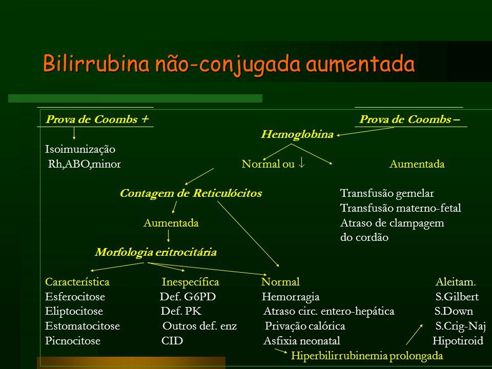 Bilirrubina não-conjugada aumentada Prova de Coombs + Prova de Coombs – Hemoglobina Isoimunização Rh,ABO,minor Normal ou Aumentada Contagem de Reticul