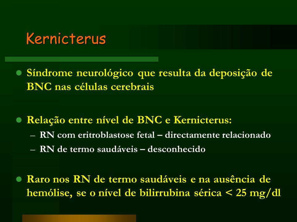 Kernicterus Síndrome neurológico que resulta da deposição de BNC nas células cerebrais Relação entre nível de BNC e Kernicterus: –RN com eritroblastos